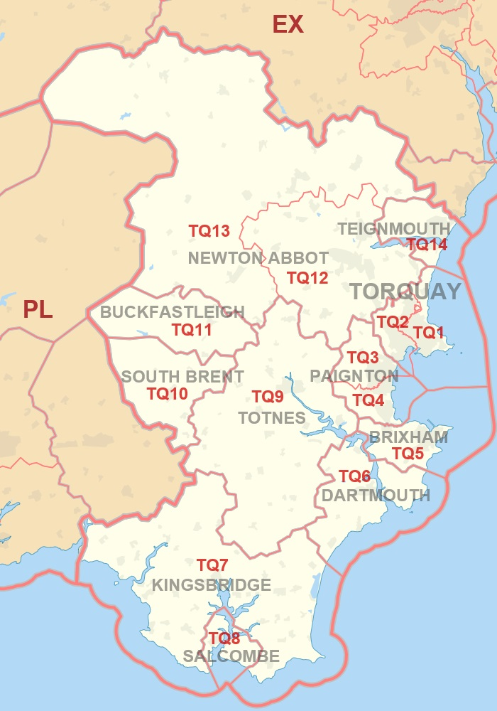 TQ postcode area map